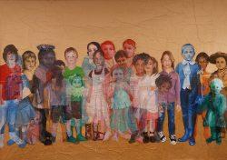 """""""Enfance"""" 2015 peinture à l'huile sur papier marouflé sur toile (3,50m x 2m)"""