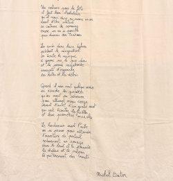 """""""Manifestation silencieuse"""", 2015-2016 Texte de Michel Butor brodé sur drap par Claire Stephan, détail"""