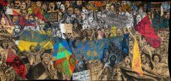 """""""We want justice"""" 2018/2019, Fusain et pastel sur papier marouflé sur toile, 550 x 240 cm"""