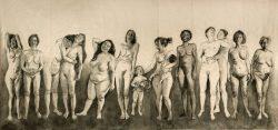"""""""Les femmes qui rient 2"""" 2019, Fusain sur papier marouflé sur toile, 520 x 230 cm"""