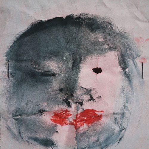 2014 Masque, frottage pastel sur papier calque 25 x 27 cm